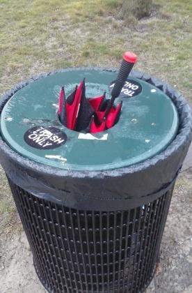 Umbrella in the trash