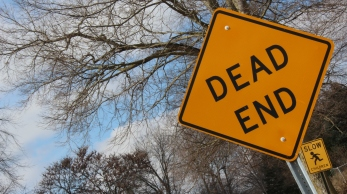 'Dead End' sign in Downtown Muncie
