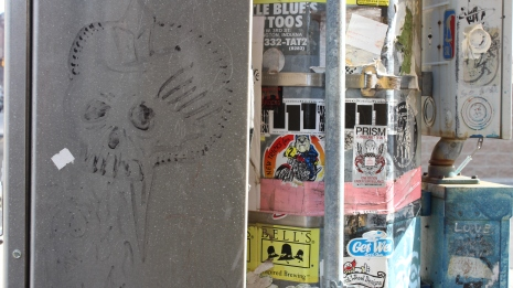Graffiti and advertisements in Downtown Muncie
