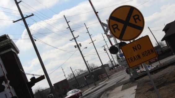 Railroad tracks in Downtown Muncie